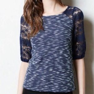Anthropologie postmark top with lace sleeves